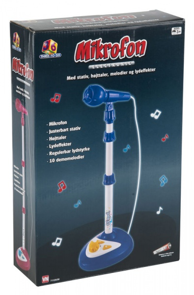 Mikrofon med stativ. 10 Demosanger og lydeffekter